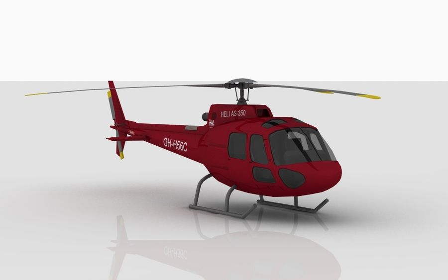 Eurocopter AS350 RED royalty-free 3d model - Preview no. 2