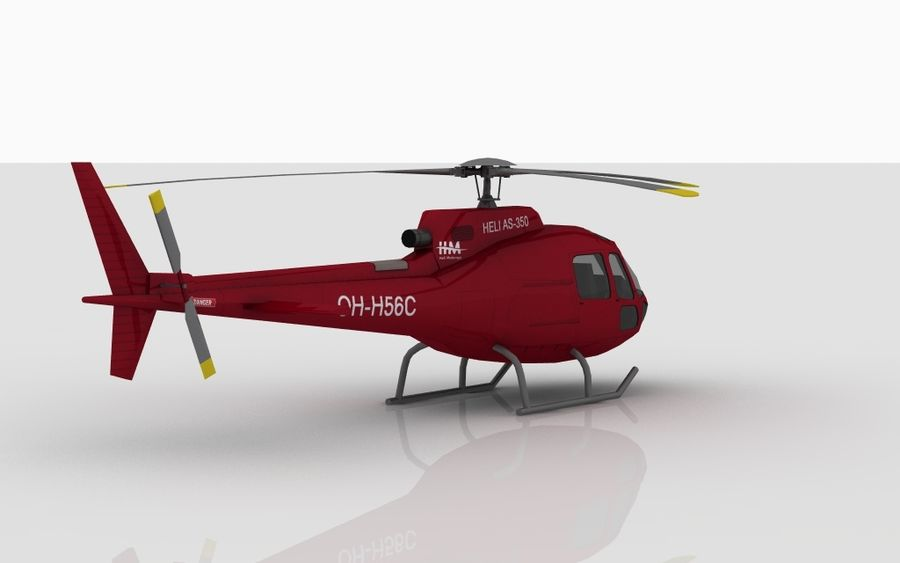 Eurocopter AS350 RED royalty-free 3d model - Preview no. 3