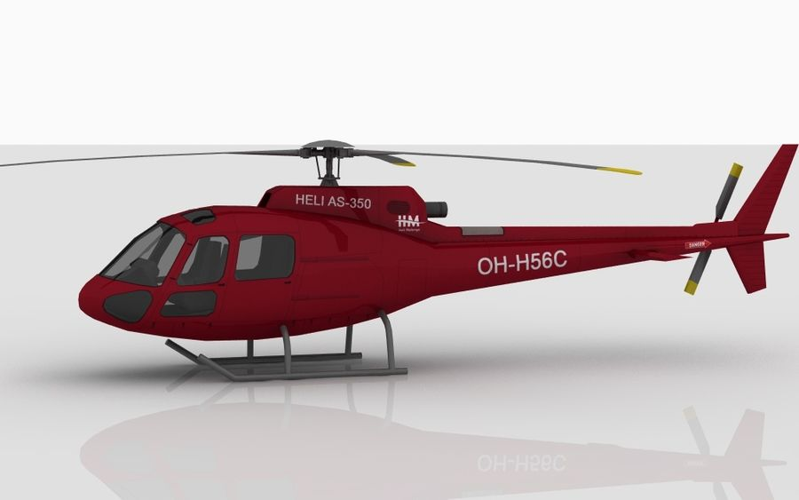 Eurocopter AS350 RED royalty-free 3d model - Preview no. 4