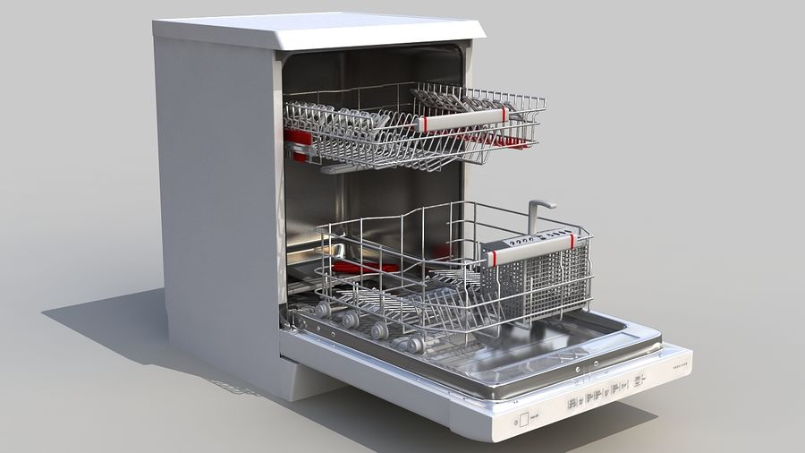 AEG Dishwasher royalty-free 3d model - Preview no. 2