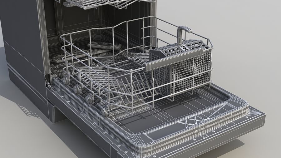 AEG Dishwasher royalty-free 3d model - Preview no. 12