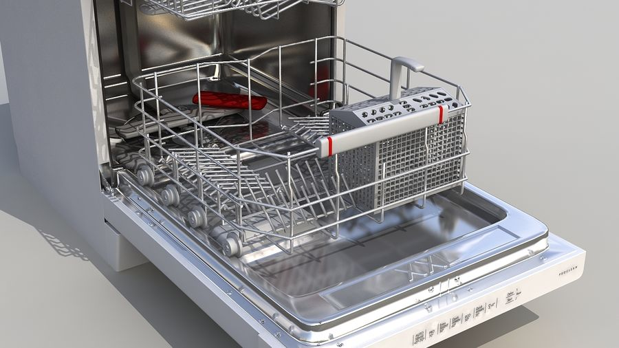 AEG Dishwasher royalty-free 3d model - Preview no. 5