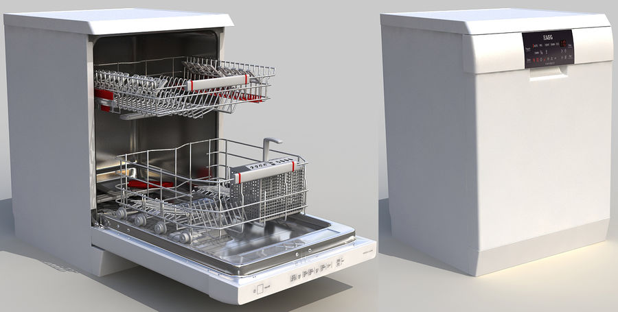 AEG Dishwasher royalty-free 3d model - Preview no. 1