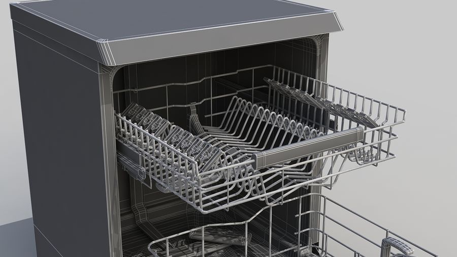 AEG Dishwasher royalty-free 3d model - Preview no. 11