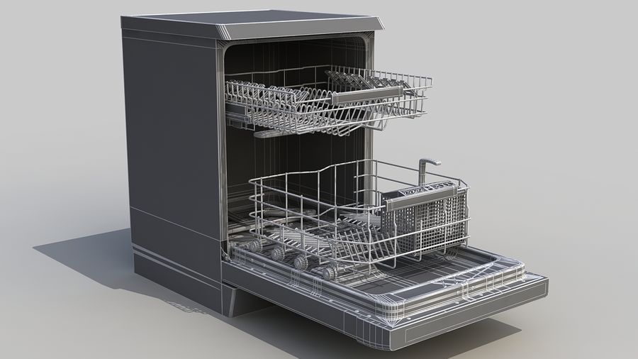 AEG Dishwasher royalty-free 3d model - Preview no. 9