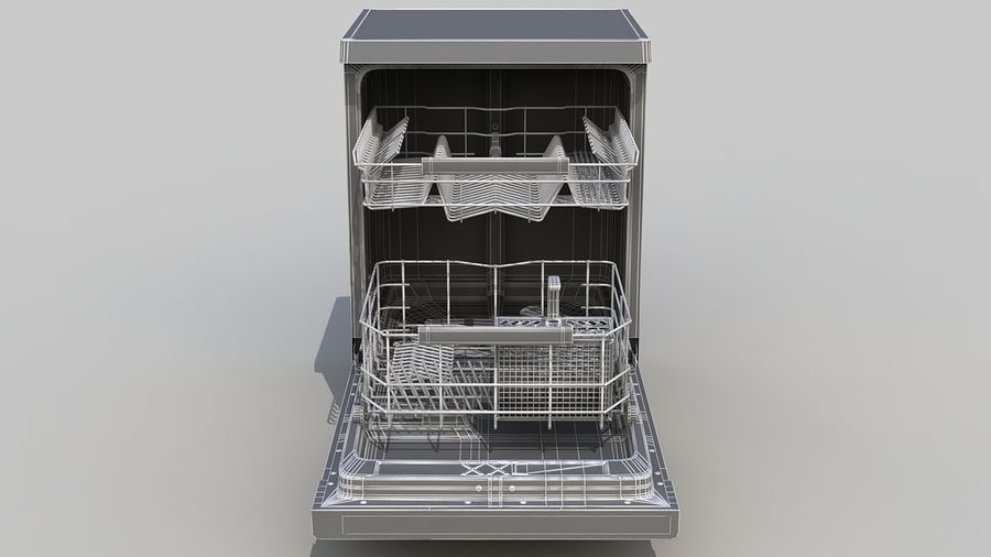 AEG Dishwasher royalty-free 3d model - Preview no. 10