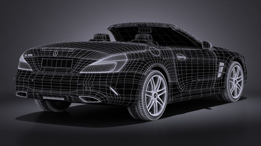 Mercedes-Benz SL 2017 royalty-free 3d model - Preview no. 19