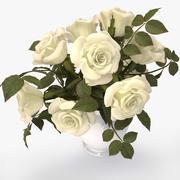 roses white bouquet 3d model