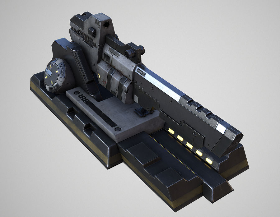Sci-fi turret royalty-free 3d model - Preview no. 4