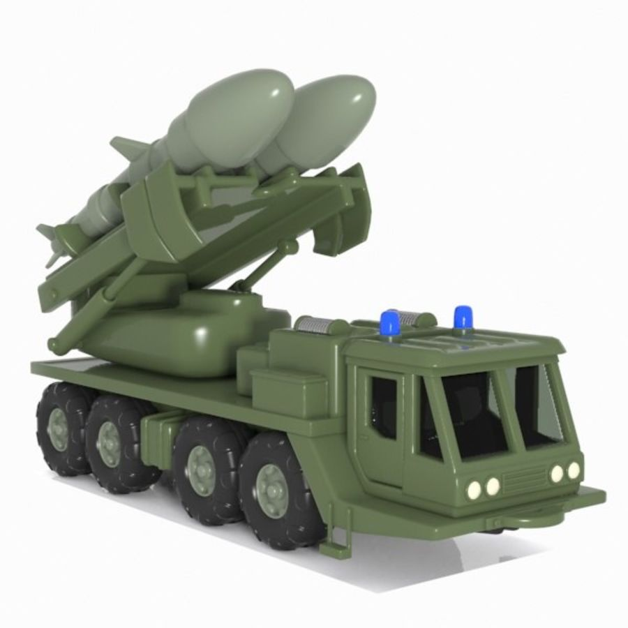 Cartoon Missile Vehicle 1 royalty-free 3d model - Preview no. 6