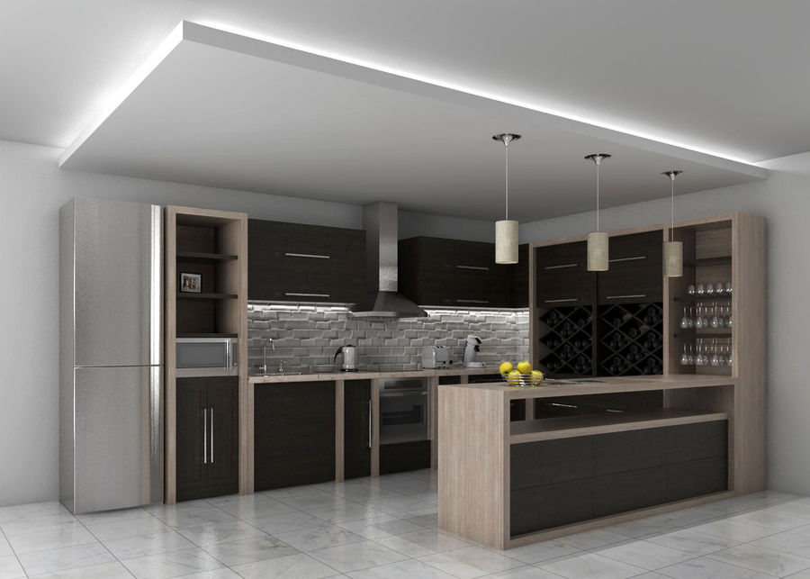 Kitchen 3 royalty-free 3d model - Preview no. 1
