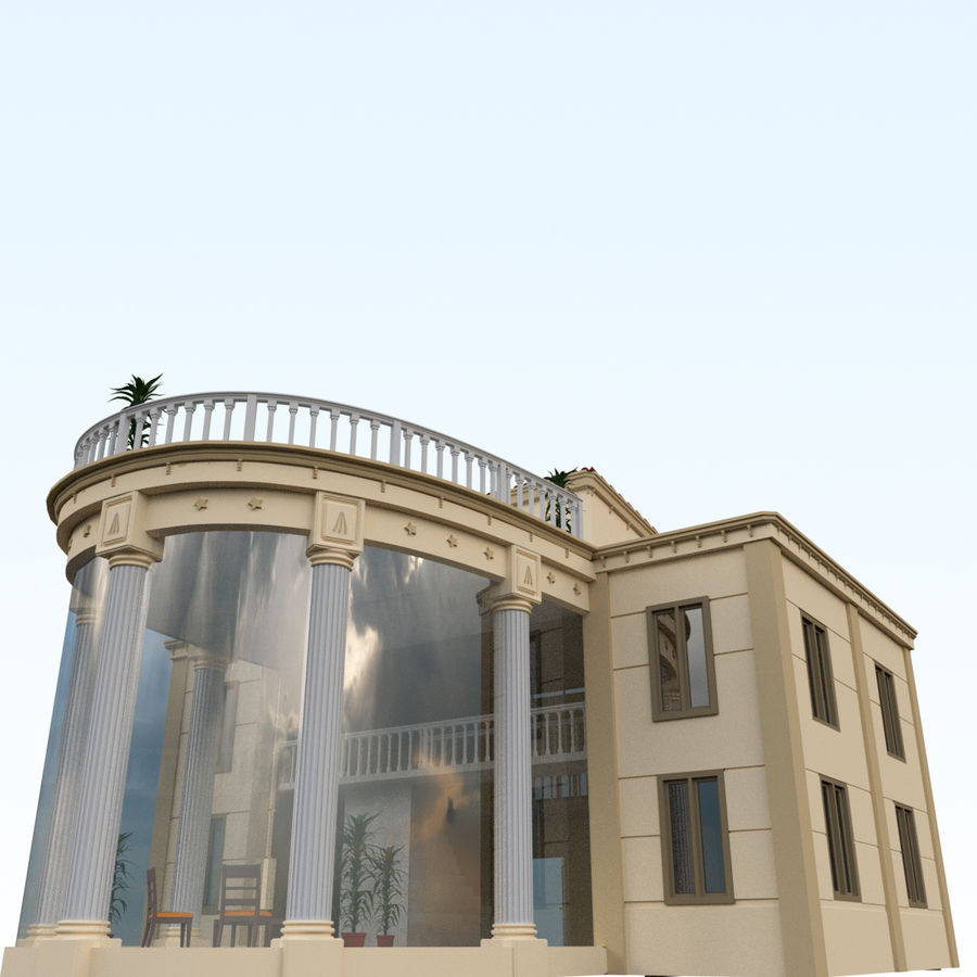 Villa_House_Interior and Exterior royalty-free 3d model - Preview no. 1