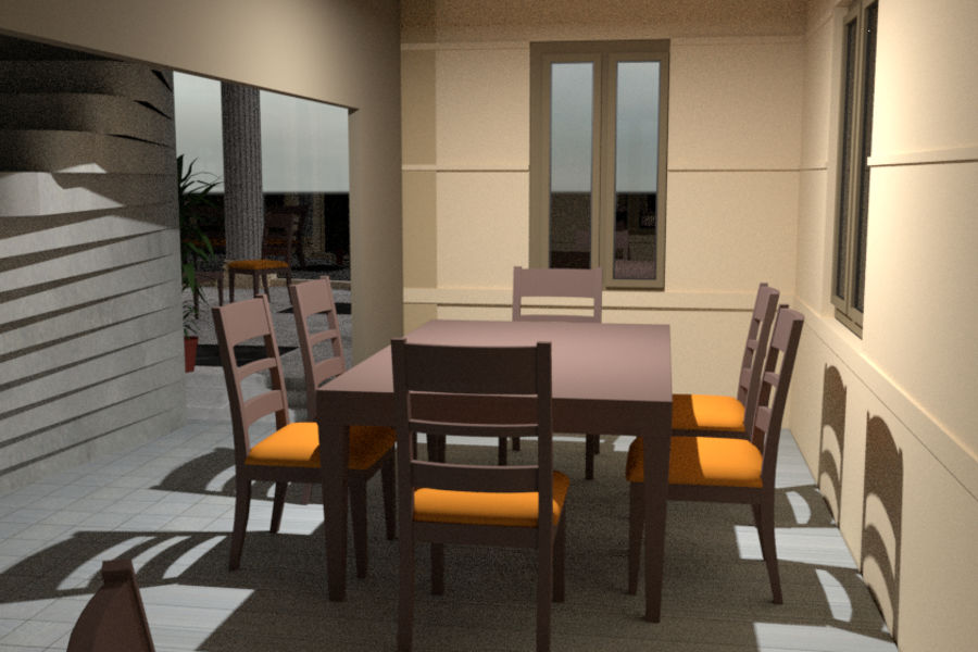 Villa_House_Interior and Exterior royalty-free 3d model - Preview no. 12