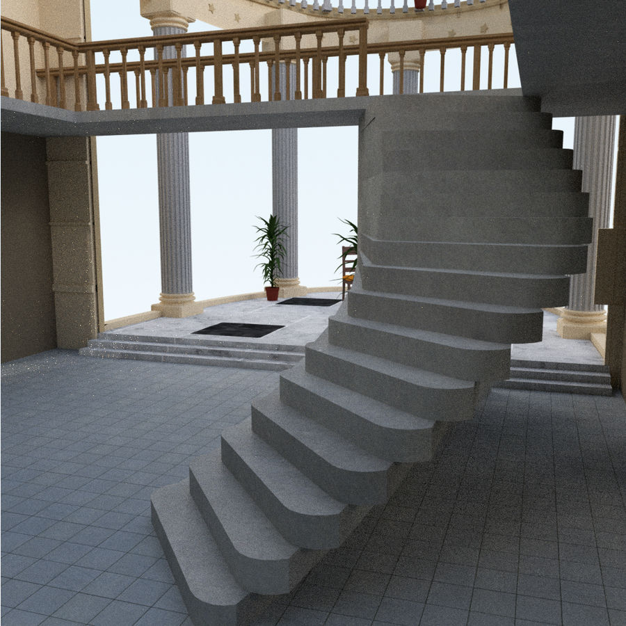 Villa_House_Interior and Exterior royalty-free 3d model - Preview no. 8
