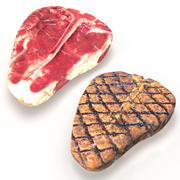 Steaks Porterhouse crus et grillés 3d model