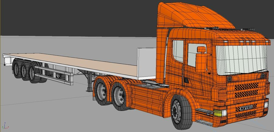 Truck Tractor And Trailers royalty-free 3d model - Preview no. 6