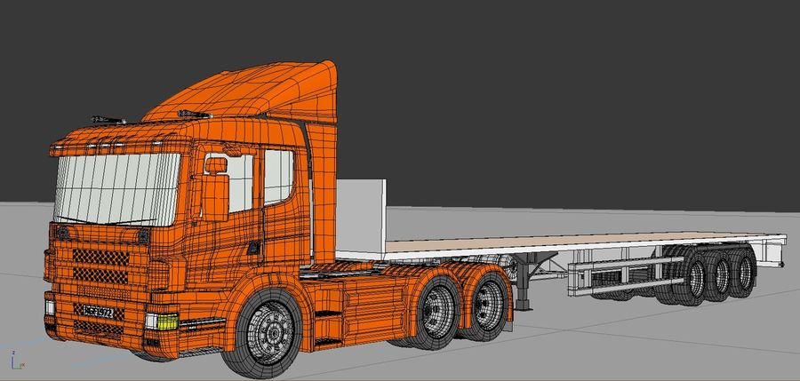 Truck Tractor And Trailers royalty-free 3d model - Preview no. 5
