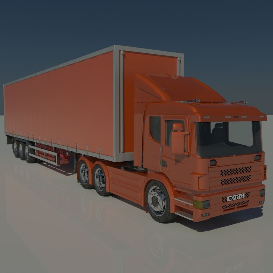 Truck Tractor And Trailers royalty-free 3d model - Preview no. 1