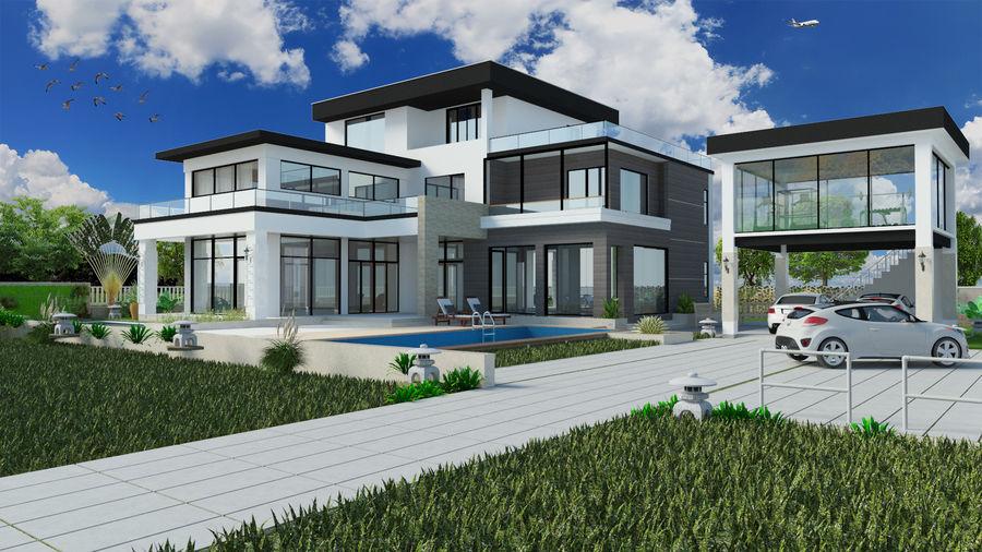 modern villa 3d model 15 fbx skp obj free3d. Black Bedroom Furniture Sets. Home Design Ideas