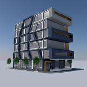 Modern Sci Fi Apartment City Building - HD Futuristic Cityscape Tile 7 3d model