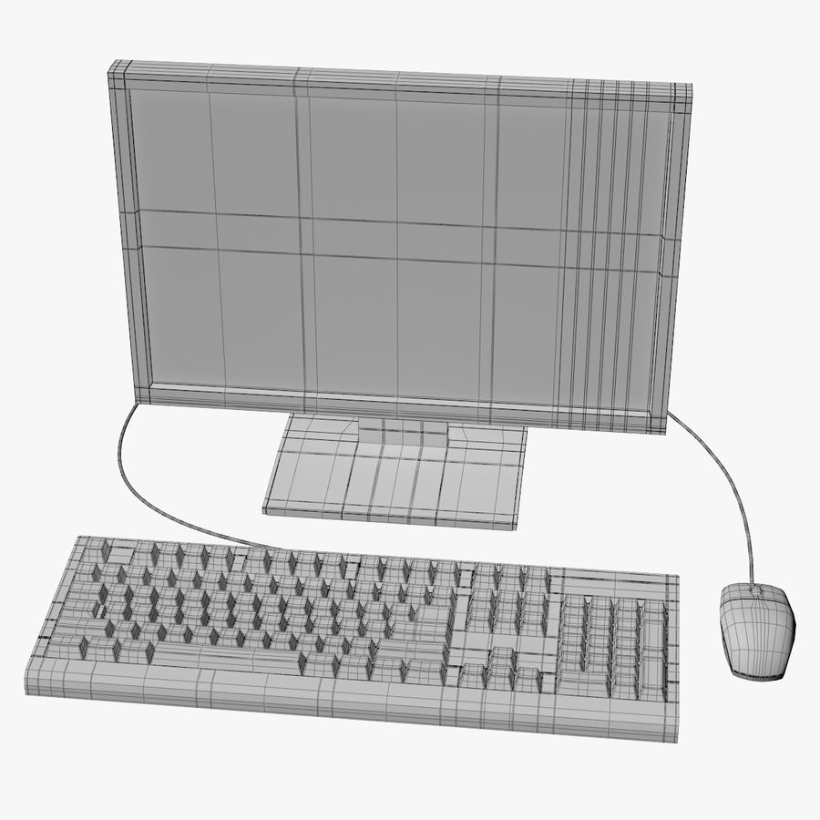 Computer Monitor, Keyboard & Mouse royalty-free 3d model - Preview no. 9