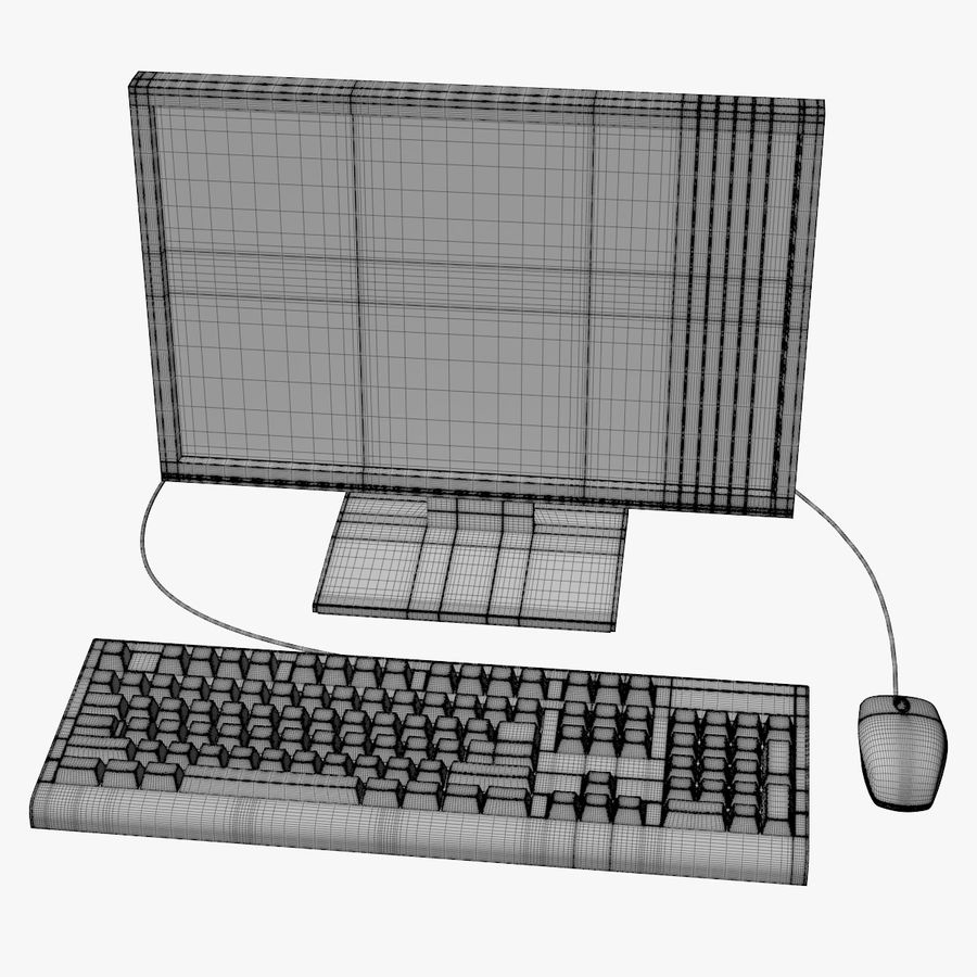 Computer Monitor, Keyboard & Mouse royalty-free 3d model - Preview no. 8
