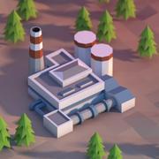 Lowpoly factory 3d model
