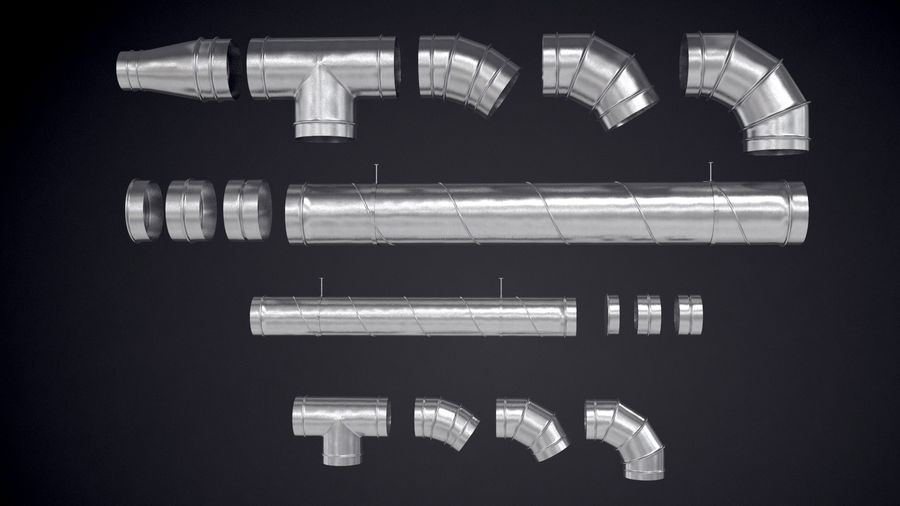 Air Conditioning Ducting royalty-free 3d model - Preview no. 6