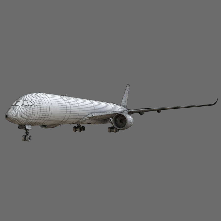 Airbus A350 - 900 royalty-free 3d model - Preview no. 26