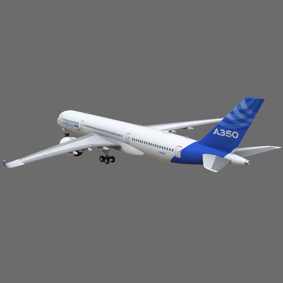 Airbus A350 - 900 royalty-free 3d model - Preview no. 6