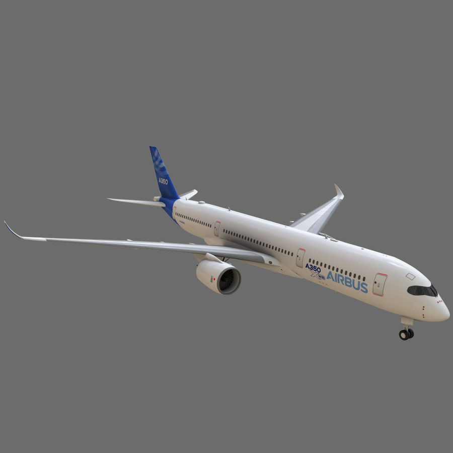 Airbus A350 - 900 royalty-free 3d model - Preview no. 2