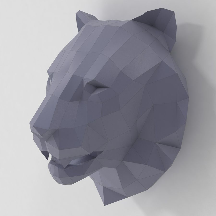 Lion Head Papercraft royalty-free 3d model - Preview no. 1