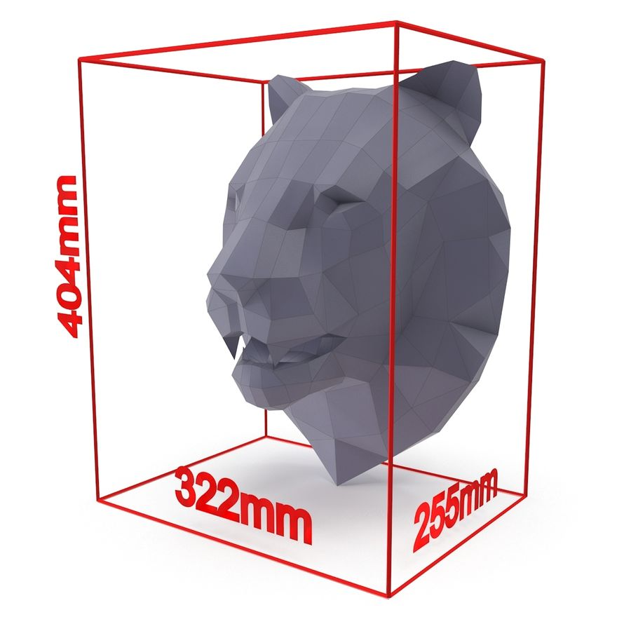 Lion Head Papercraft royalty-free 3d model - Preview no. 9