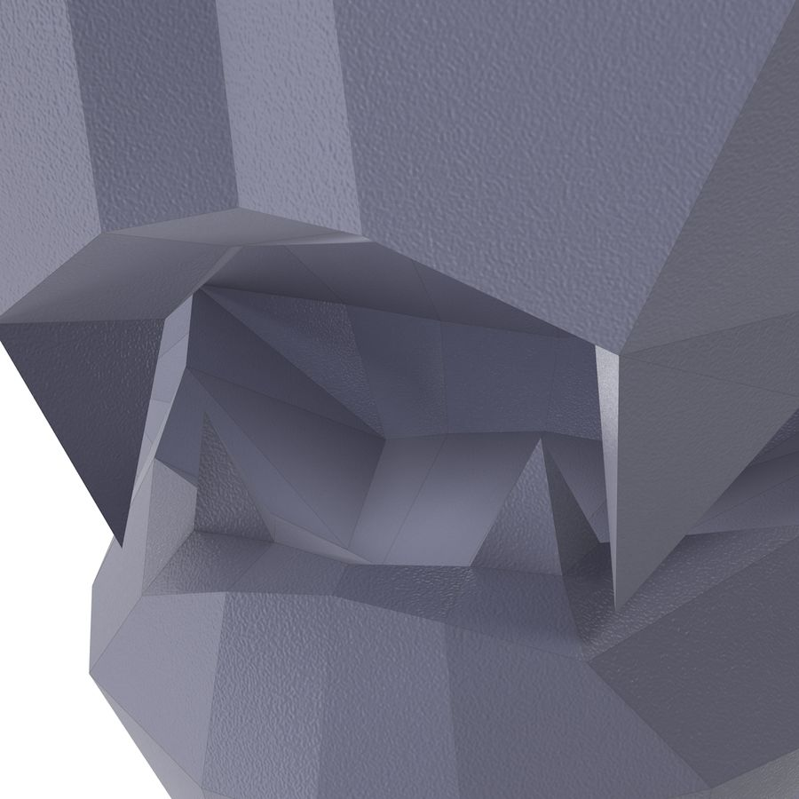 Lion Head Papercraft royalty-free 3d model - Preview no. 8