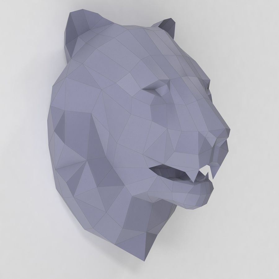 Lion Head Papercraft royalty-free 3d model - Preview no. 3