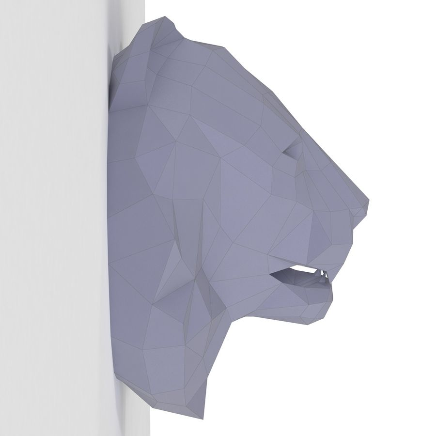 Lion Head Papercraft royalty-free 3d model - Preview no. 4