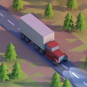 Lowpoly truck on a highway 3d model