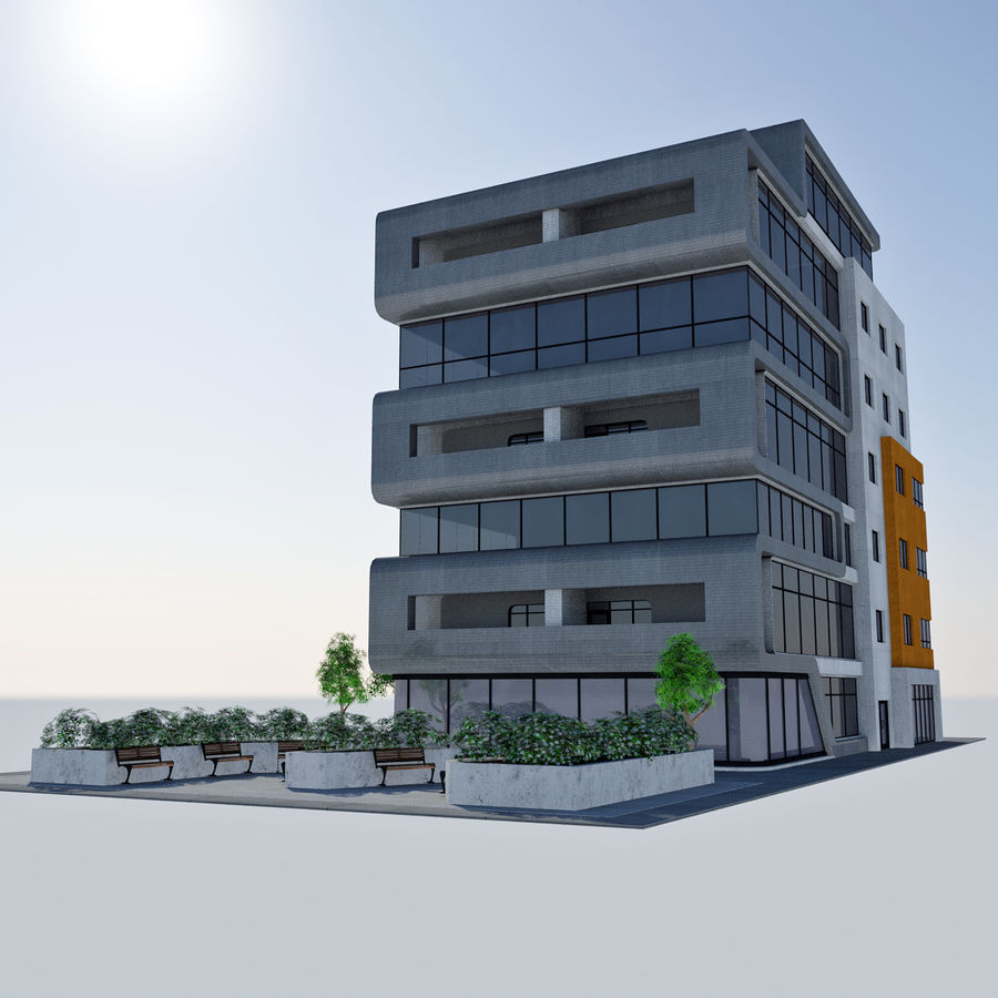 Immeuble De Bureaux Moderne Cityscape Hd Tile 7 Modele 3d 17