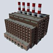 Старое промышленное здание электростанции - угольные дымовые трубы 1 3d model