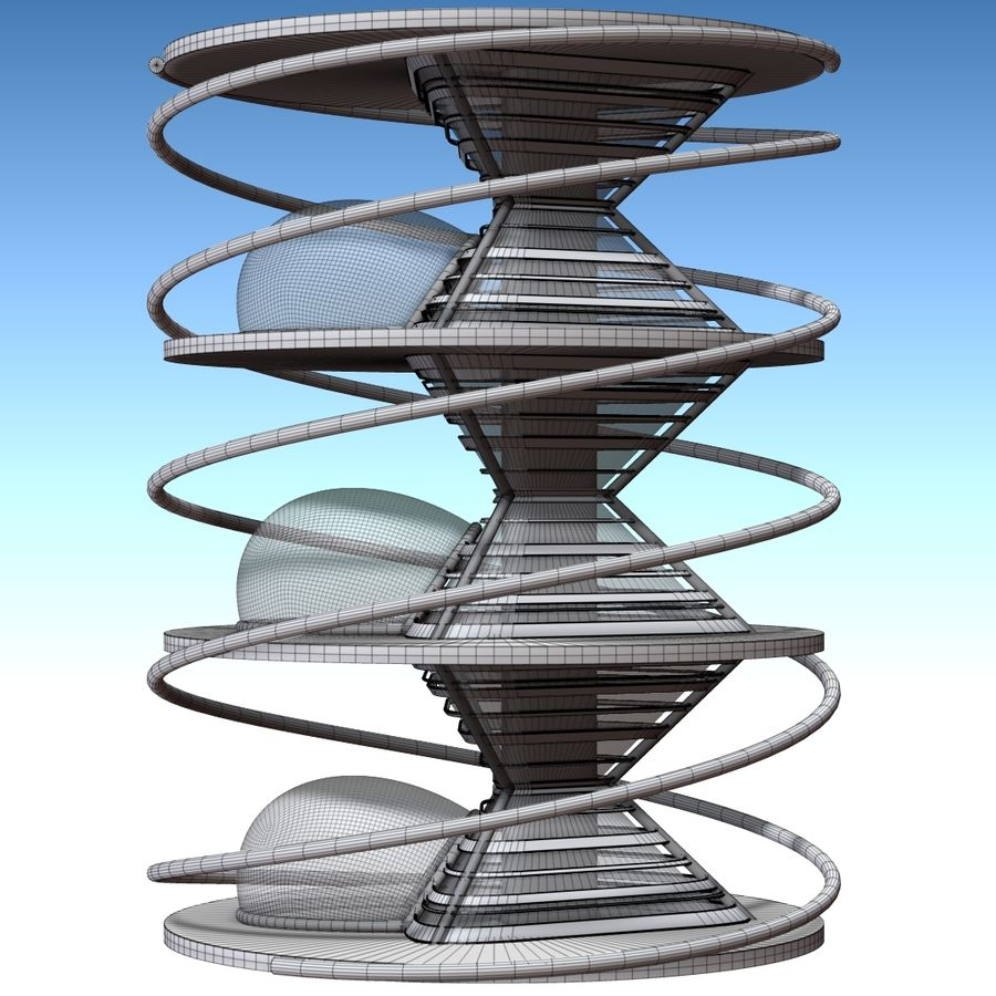 Futuristic building royalty-free 3d model - Preview no. 6