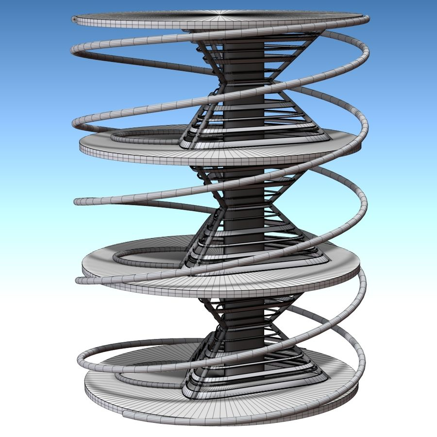 Futuristic building royalty-free 3d model - Preview no. 9