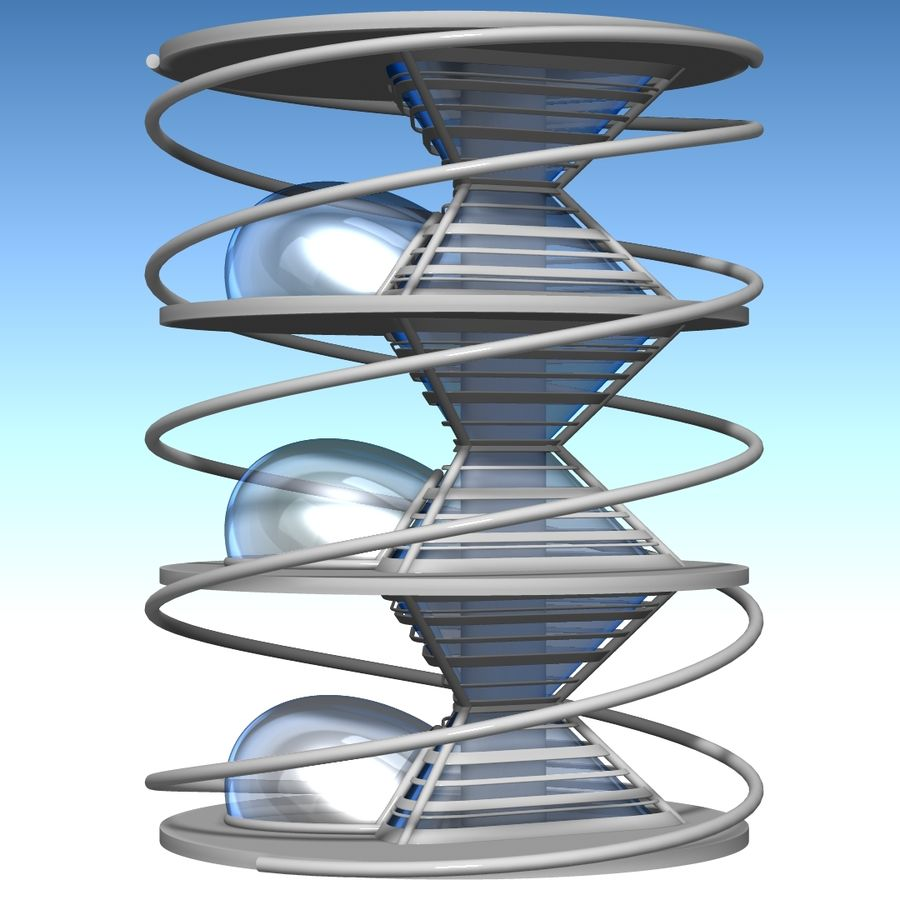 Futuristic building royalty-free 3d model - Preview no. 12