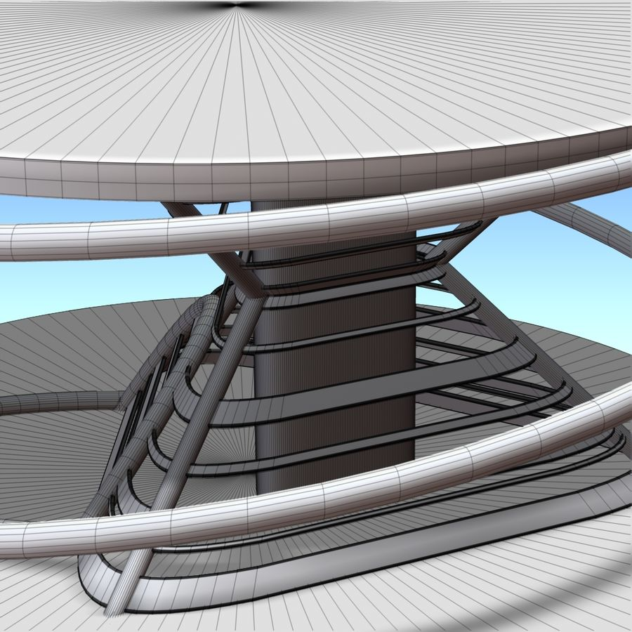 Futuristic building royalty-free 3d model - Preview no. 11