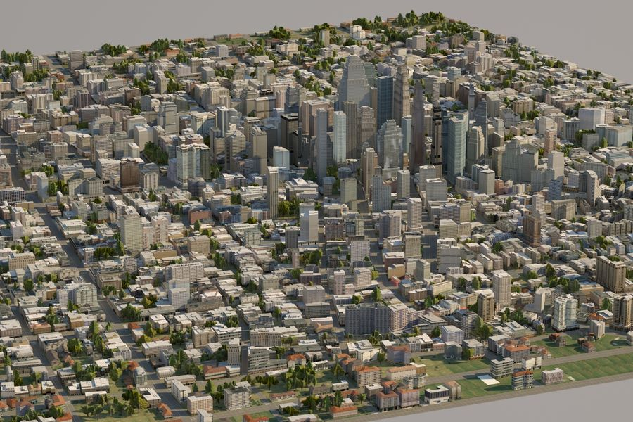 Huge City royalty-free 3d model - Preview no. 14