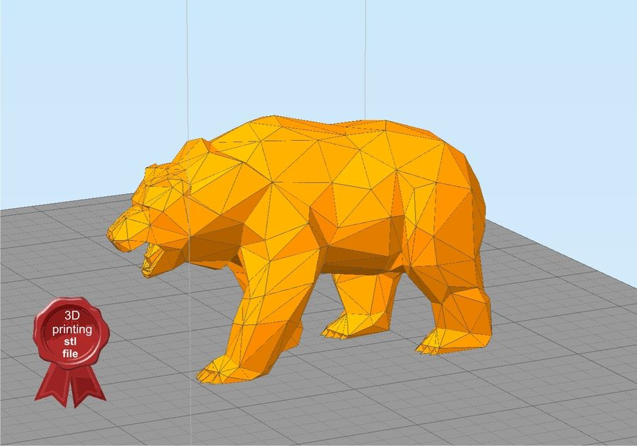 Bear Russian Low Poly royalty-free 3d model - Preview no. 4