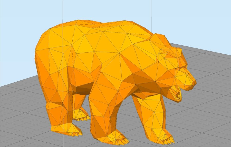 Bear Russian Low Poly royalty-free 3d model - Preview no. 3