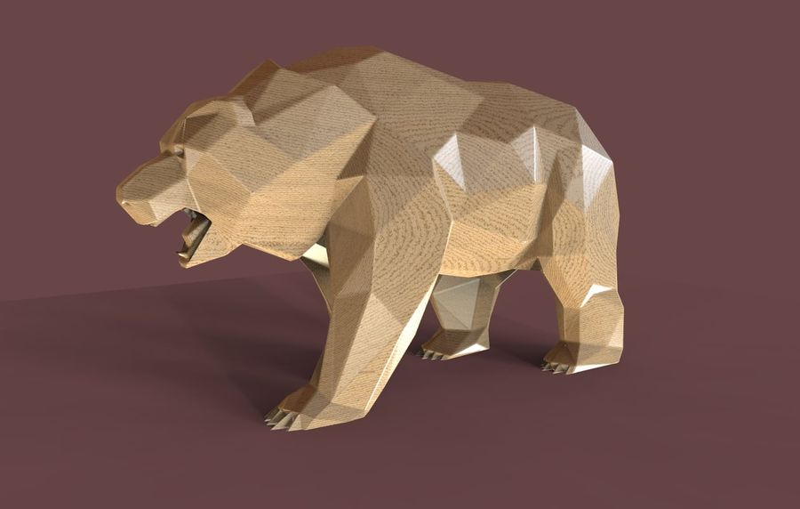 Bear Russian Low Poly royalty-free 3d model - Preview no. 2