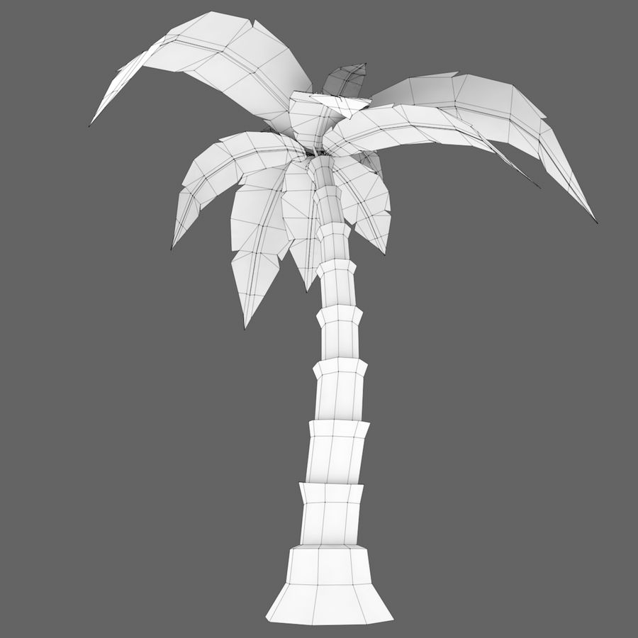 Palmera de dibujos animados (Low Poly) royalty-free modelo 3d - Preview no. 6