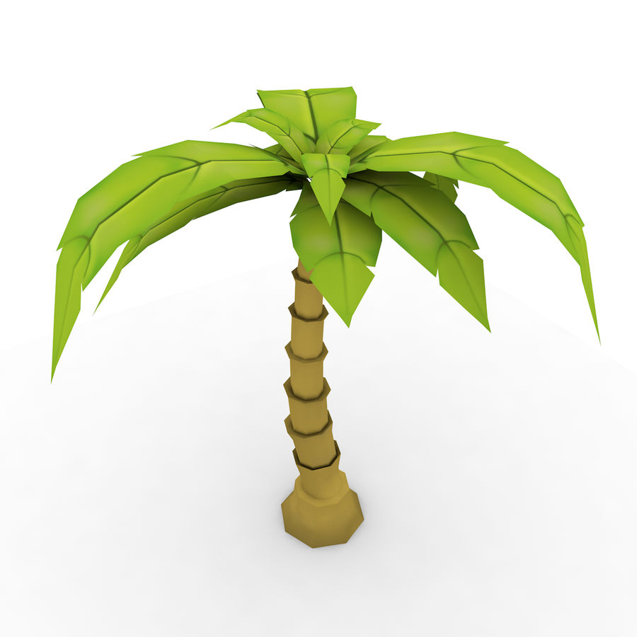 Palmera de dibujos animados (Low Poly) royalty-free modelo 3d - Preview no. 2