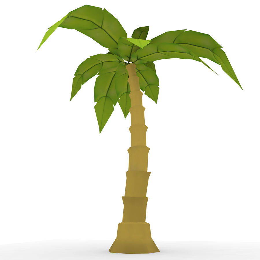 Palmera de dibujos animados (Low Poly) royalty-free modelo 3d - Preview no. 3